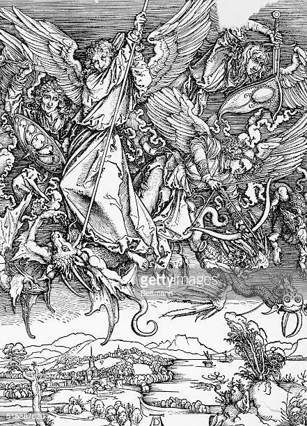 DEPICTION OF THE APOCALYPSE WITH THE ANGELS FIGHTING THE EVILS UNDATED ILLUSTRATION
