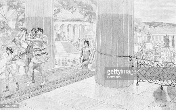 ANCIENT OLYMPIC GAMES A VICTOR IN THE OLYMPIC GAMES ENTERING THE TEMPLE OF ZEUS ENGRAVING DRAWN BY ACASTAIGNE