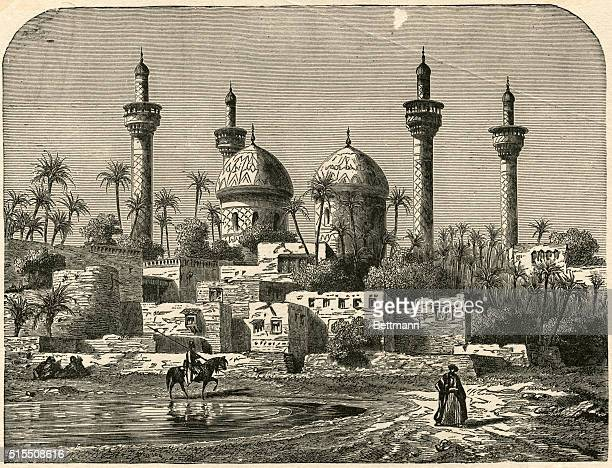 BAGHDAD IRAQ MOSQUE OF IMAMMOUSSAUNDATED ENGRAVING