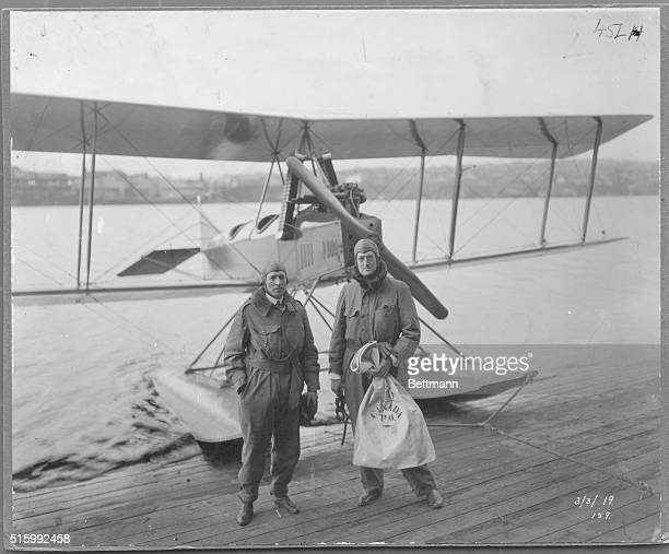 CANADIAN FLIERS WITH AIRMAIL TAG PHOTOGRAPH 1919