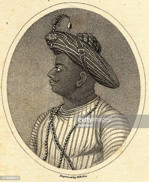 TIPU OR TIPPOO SAHIB SULTAN OF MYSORE 178299ENGRAVING BY W RIDLEY PUBLISHED IN EUROPEAN MAGAZINE JULY 1 1800