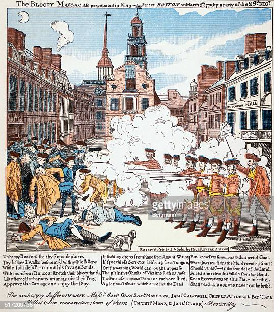 THE BOSTON MASSACRE PERPETRATED IN KING STREET BOSTON ON MARCH 5 1770 FROM A COLORED ENGRAVING PRINTED AND SOLD BY PAUL REVERE