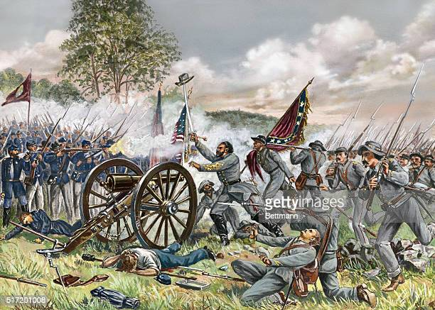THE BATTLE OF GETTYSBURG PICKET'S CHARGE ON CEMETARY HILL JULY 3 1863UNDATED COLORED ENGRAVING