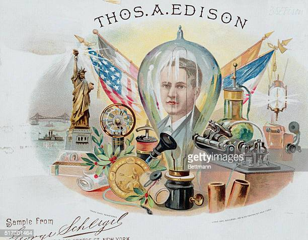 COLORED LITHOGRAPH OF THOMAS EDISON AMERICAN INVENTORBORN MILANOHIO ILLUSTRATION SHOWS THOMAS EDISON'S FACE INSIDE OF ELECTRIC BULB SURROUNDED BY HIS...