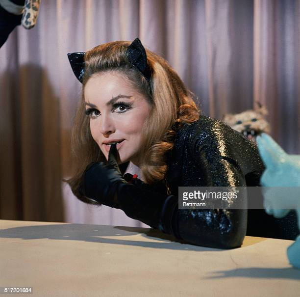 JULIE NEWMAR AS CATWOMAN BITES ON HER GLOVE FROM A PUBLICITY PHOTO OF THE TV SERIES 'BATMAN' THAT RAN FROM 19661968 COLOR SLIDE