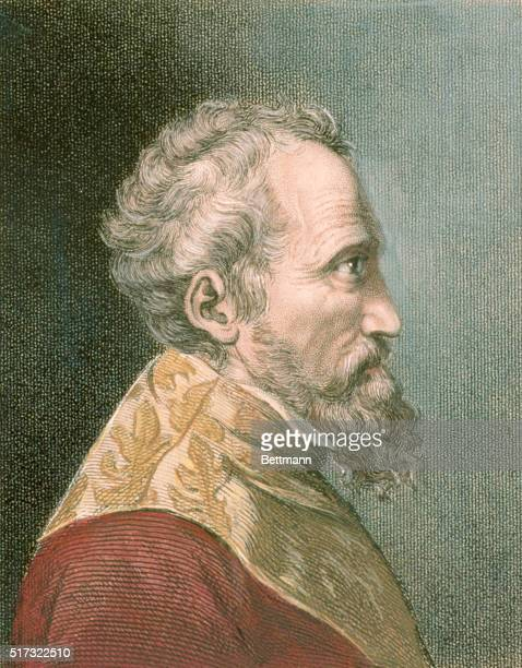 PROFILE PORTRAIT OF MICHELANGELO ITALIAN SCULPTOR PAINTER ARCHITECT AND POET LONDON PUBLISHED 1829 BY MR WRIGHT COLOR ILLUSTRATION