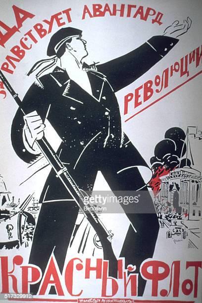 RUSSIAN PROPAGANDA POSTER FROM REVOLUTIONARY ERA