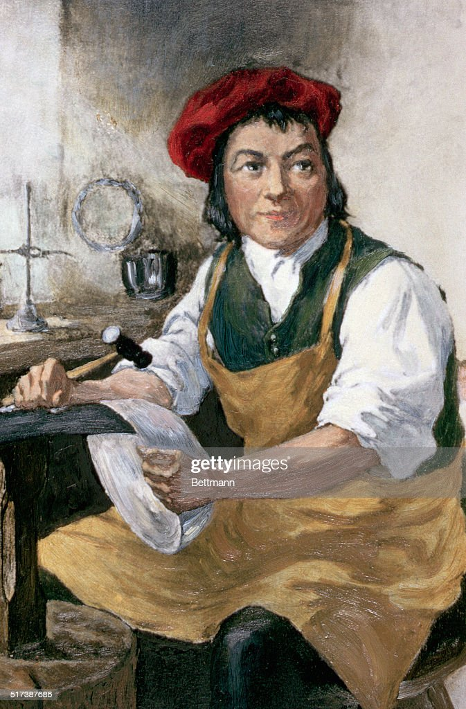 PAUL REVERE, REVOLUTIONARY HERO AND FAMED SILVERSMITH, SHOWN IN HIS WORKSHOP IN BOSTON.