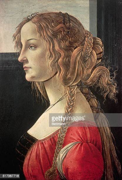SANDRO BOTTICELLI 14441510 PORTRAIT OF SIMONETTA VESPUCCI YOUNG GIRL WITH ELABORATE TRESSES PAINTING