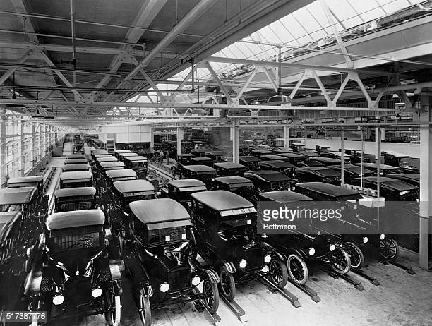 MODEL T FORDS ARRAYED FOR DELIVERY AFTER LEAVING ASSEMBLY LINEPHOTOGRAPH 1925