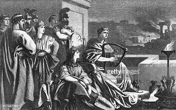 NERO ROMAN EMPEROR 5468 'WHILE THE CITY WAS IN FLAMES HE PLAYED UPON HIS HARP' NERO WAS BLAMED FOR THE FIRE IN 64 WHICH DESTROYED MUCH OF ROMEUNDATED...