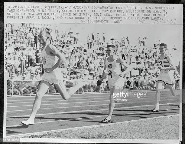 LON SPURRIER US WORLD 880 YARD CHAMPION WINS THE 1000 METER RACE AT OLYMPIC PARK MELBOURNE ON JAN 7 SETTING A NEW AUSTRALIAN RECORD OF 2 MIN 237 SEC...