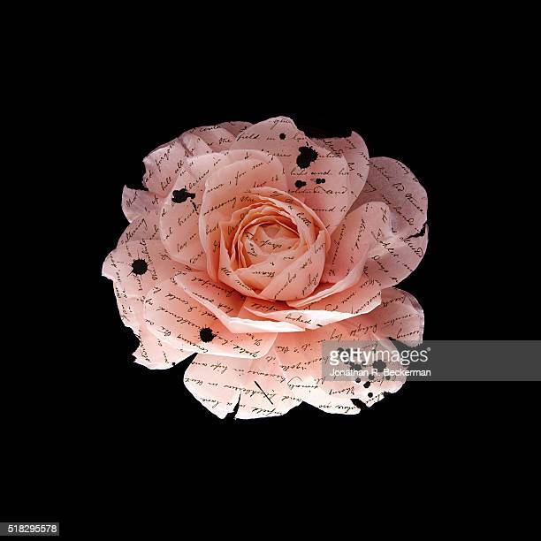 PINK PAPER FLOWER WITH WRITING