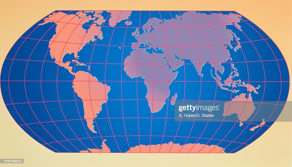 Map World Outline Computer Graphic System Of Coordinates Longitude ...