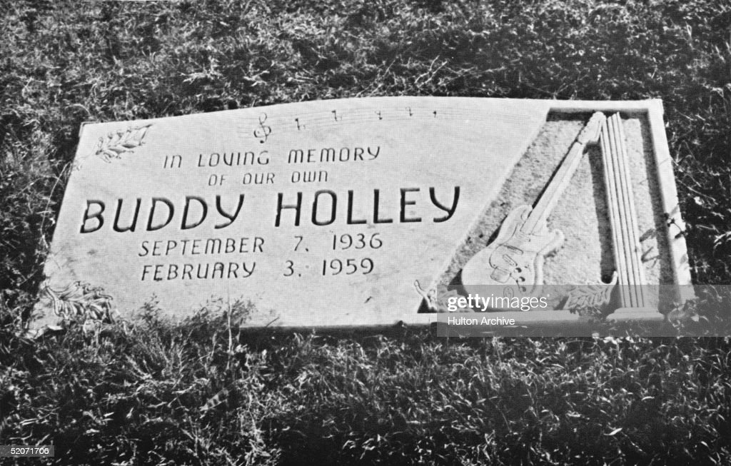 View of American rock and roll musician Buddy Holly's gravestone in Lubbock, Texas, 1975. The gravestone reads 'In loving memory of our own Burrdy Holly, September 7, 1936 - February 3, 1959.'