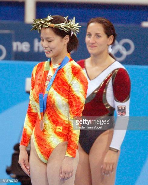Trampolin Olympische Spiele Athen 2004 Athen Frauen / Finale Shanshan HUANG / CHN Bronze Anna DOGONADZE / GER Gold 200804