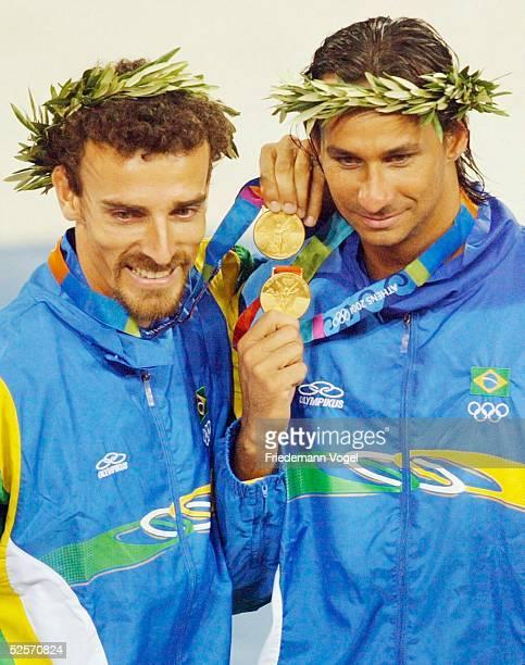 Beachvolleyball / Maenner Olympische Spiele Athen 2004 Athen Emanuel REGO Ricardo Alex SANTOS / BRA Gold 250804