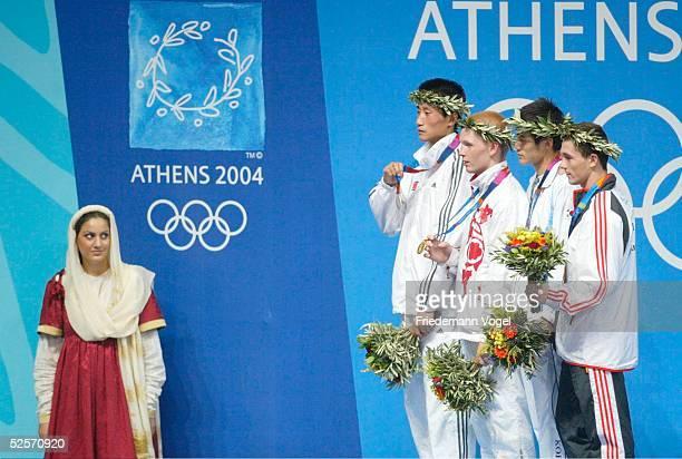 Boxen Olympische Spiele Athen 2004 Athen Siegerehrung / Federgewicht KIM / PRK TICHTCHENKO / RUS Song Guk KIM / PRK Silber Alexei TICHTCHENKO / RUS...