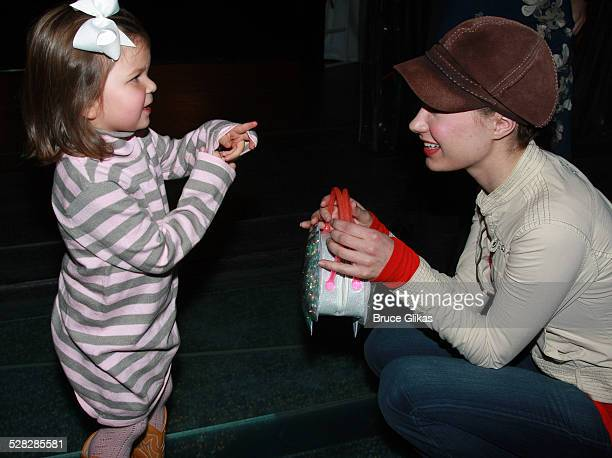 Personality Elisabeth Hasselbeck's daughter Grace Hasselbeck and actress Sierra Boggess pose as they visit backstage at The Little Mermaid on...