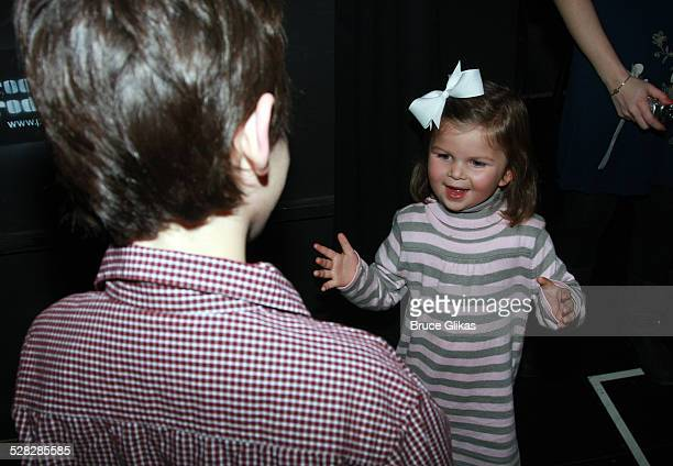 Personality Elisabeth Hasselbeck's daughter Grace Hasselbeck visits backstage at The Little Mermaid on Broadway at The Lunt-Fontanne Theatre on...