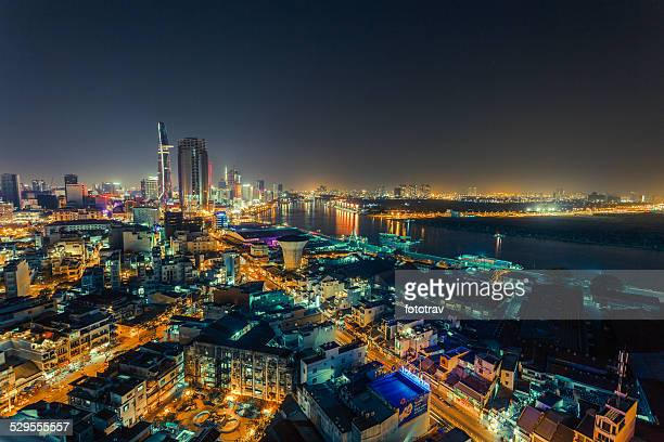 aerial view of ho chi minh city - ho chi minh city stock pictures, royalty-free photos & images