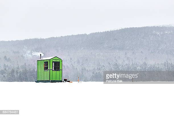 shack for ice fishing in maine - hut stock pictures, royalty-free photos & images