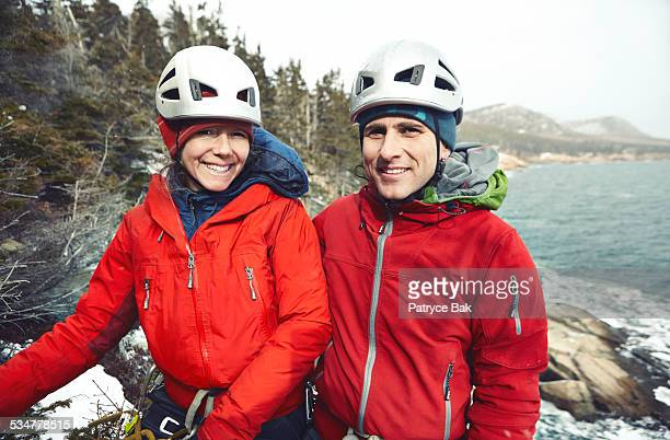 winter ice climbing in acadia park - leanintogether stock pictures, royalty-free photos & images
