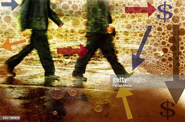 MEN WALKING WITH ARROWS