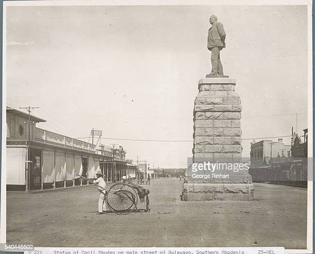 STATUE OF CECIL RHODES ON MAIN STREET OF BULAWAYO, SOUTHERN RHODESIA .UNDATED PHOTOGRAPH.