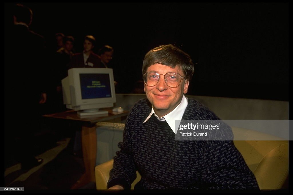 BILL GATES, CHAIRMAN AND MD OF MICROSOFT IN PARIS : News Photo