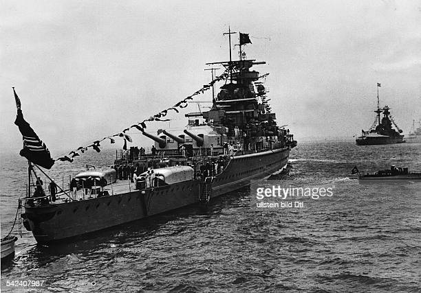 Third Reich Navy German battleship 'Admiral Graf Spee' during celebrations marking the coronation of George VI near Spithead between 15