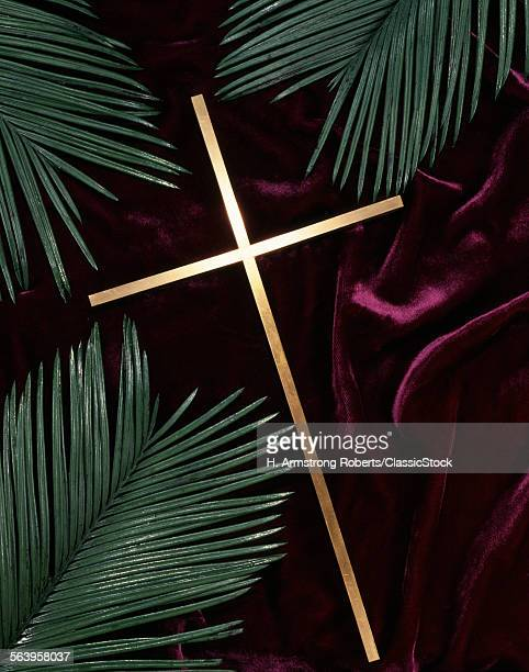 GOLD CROSS GREEN PALM...