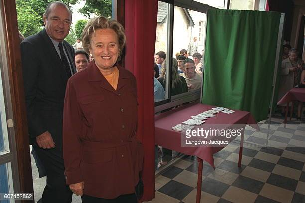 BERNADETTE AND JACQUES CHIRAC VOTE IN SARRAN