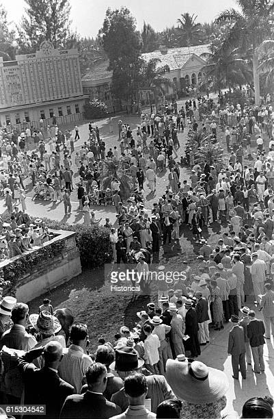 Crowds at Hialeah Park racetrack Miami Florida ca January April 1939