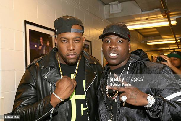 Pvnch and rapper Casanova pose backstage during Power 1051's Powerhouse 2016 at Barclays Center on October 27 2016 in New York City