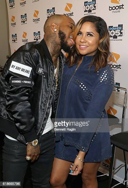 Hip hop artist Tory Lanez and Angela Yee pose backstage during Power 1051's Powerhouse 2016 at Barclays Center on October 27 2016 in New York City