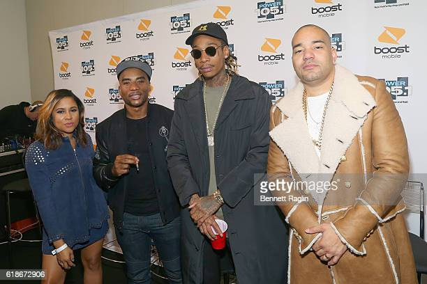 Angela Yee Charlamagne Tha God Wiz Khalifa and DJ Envy pose backstage during Power 1051's Powerhouse 2016 at Barclays Center on October 27 2016 in...