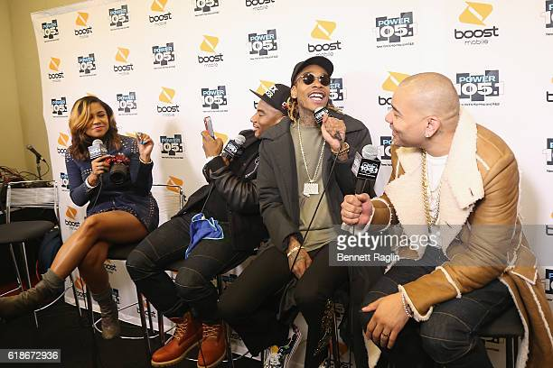 Angela Yee Charlamagne Tha God Wiz Khalifa and DJ Envy attend Power 1051's Powerhouse 2016 at Barclays Center on October 27 2016 in New York City