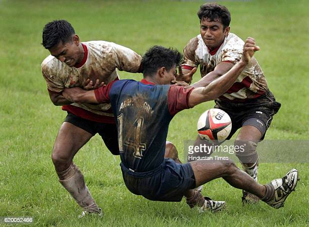 PLAYERS FROM ARMY A AND ARMY B FIGHTING TO GRAB THE BALL DURING THEIR CLASH IN THE ALL-INDIA AND SOUTH ASIA RUGBY TOURNAMENT AT BOMBAY GYMKHANA ON...