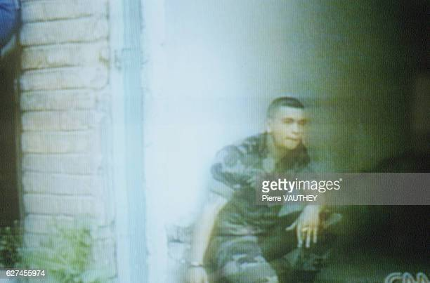 TV PICTURES OF THE FRENCH SOLDIERS HELD HOSTAGE BY THE SERBS