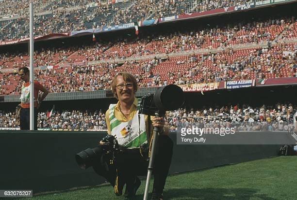 Sports photographer and founder of the Allsport photographic agency Tony Duffy at the Fifa World Cup in Spain June July 1982