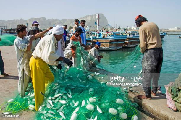 gawadar port & fish harbor - pakistani culture stock photos and pictures