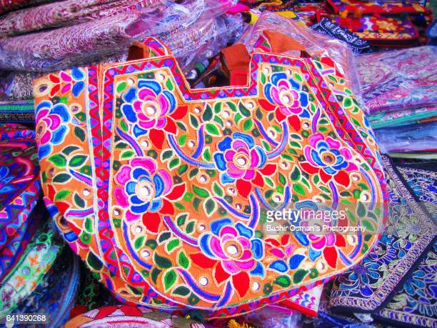 sindhi culture - multi coloured purse stock photos and pictures
