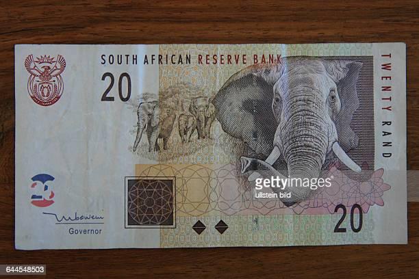 20 RAND BANKNOTE VON DER REPUBLIK SÜDAFRIKA. BEDRUCKT MIT EINEM AFRIKANISCHEN WILDTIER DER BIG FIVE EINEM ELEFANTEN
