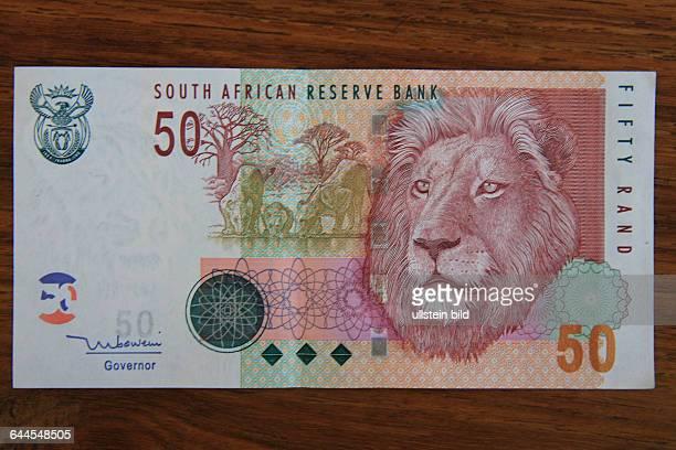 50 RAND BANKNOTE VON DER REPUBLIK SÜDAFRIKA. BEDRUCKT MIT EINEM AFRIKANISCHEN WILDTIER DER BIG FIVE EINEM LÖWEN