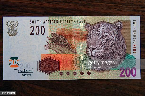 200 RAND BANKNOTE VON DER REPUBLIK SÜDAFRIKA. BEDRUCKT MIT EINEM AFRIKANISCHEN WILDTIER DER BIG FIVE EINEM LEOPARDEN