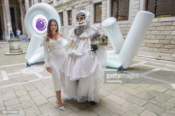 Lina Condes and Daniel Lismore pose for a portrait at Lina Condes 'Extraterrestrial Odyssey' opening at Palazzo Pisani during Art Biennale on May 12...