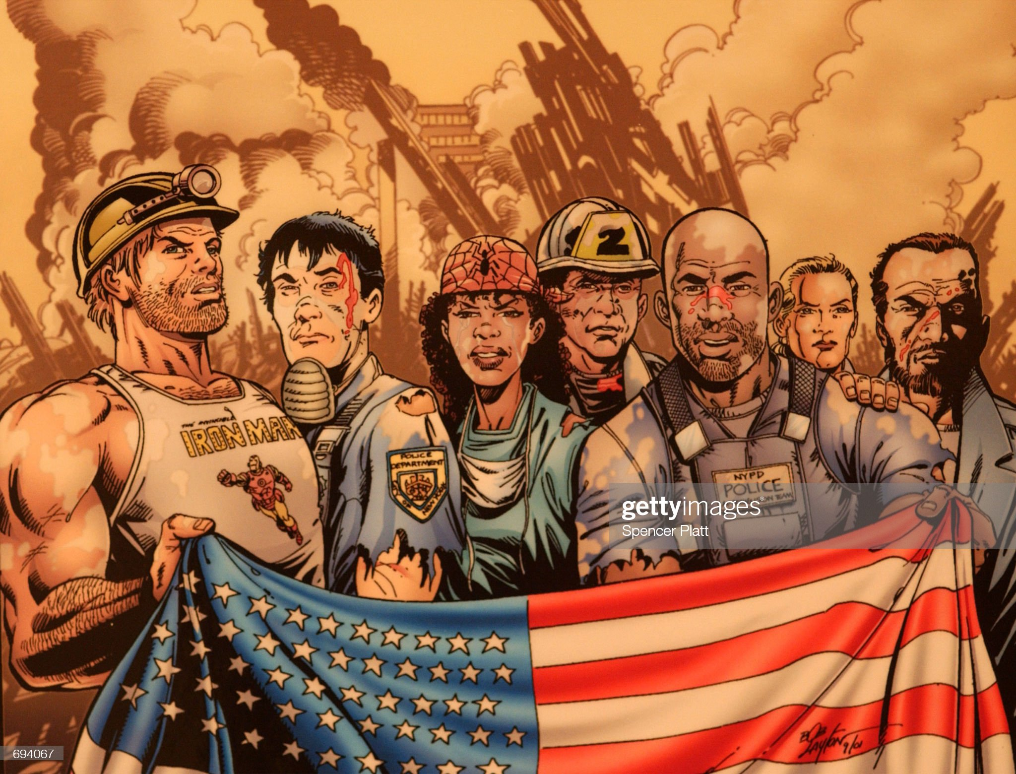 Comic Artists Pay Tribute to 9/11 Heroes : News Photo