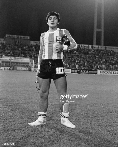 Argentina's 18 year old striker Diego Maradona at the FIFA 75th Anniversary Match between Argentina and Holland in Berne Switzerland 22nd May 1979...