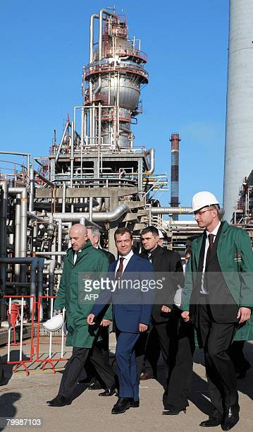 Russian deputy prime minister Dmitry Medvedev visits an oil refinery in Pancevo on February 25, 2008. The refinery is a part of the state-owned oil...